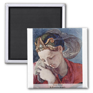 Cross Detail By Bronzino Angelo Square Magnet