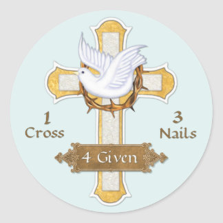 Cross Dove 4 Given Classic Round Sticker