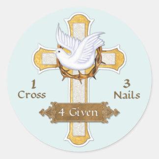 Cross Dove 4 Given Classic Round Sticker