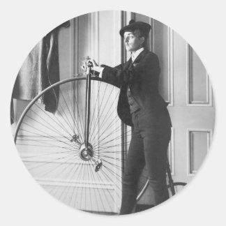 Cross-Dressed Cyclist, 1890 Round Sticker