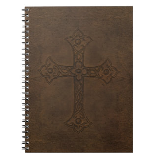 Cross Embossed Leather Notebook