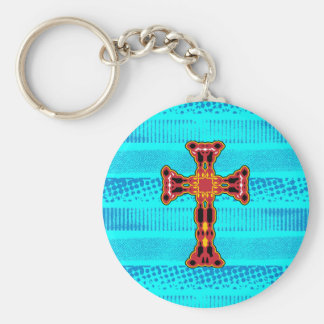 Cross fancy red lines basic round button keychain