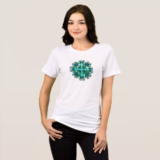 Cross & Floral Design T-Shirt