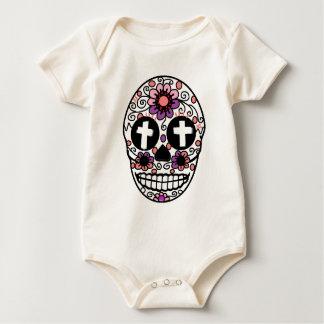 Cross flower skull art baby bodysuit
