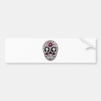 Cross flower skull art bumper sticker