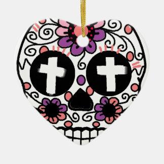 Cross flower skull art ceramic ornament