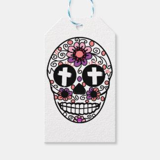 Cross flower skull art gift tags