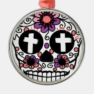 Cross flower skull art metal ornament