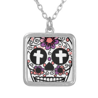 Cross flower skull art silver plated necklace