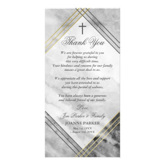 Cross & Gray Marble - Sympathy Thank You Personalized Photo Card
