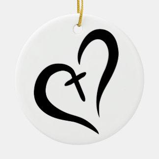 CROSS HEART CERAMIC ORNAMENT