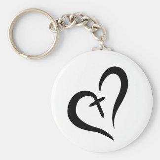 Cross heart keychain