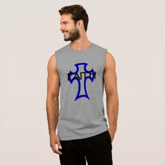 cross image with faith written sleeveless shirt