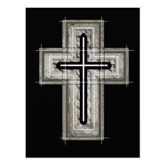 Cross in black and white. postcard