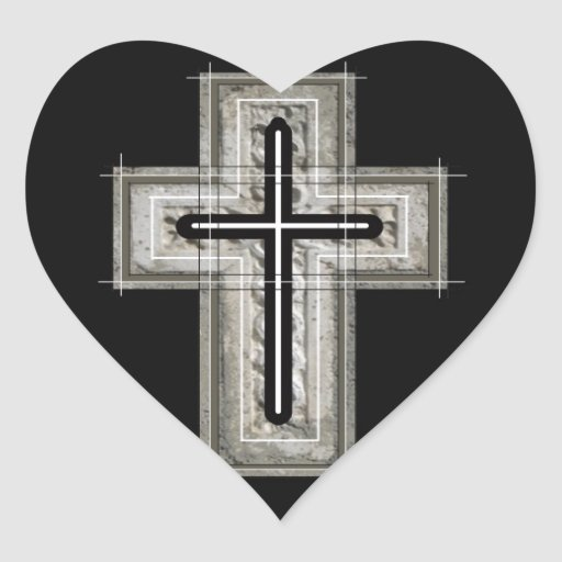 Cross in black and white. sticker