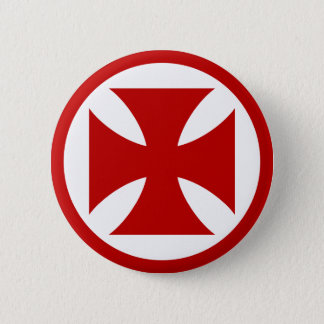 Cross in Circle red 2 Inch Round Button