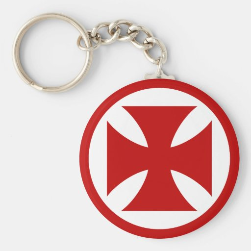 Cross in Circle red Keychain