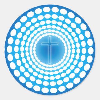 CROSS IN RETRO TUNNEL CLASSIC ROUND STICKER