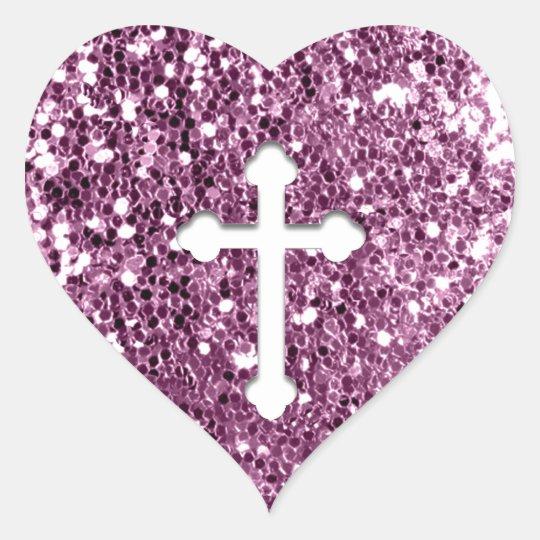 Cross in White on Pink Glitter look Heart Sticker