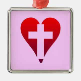 Cross inside red Heart Metal Ornament