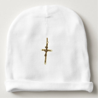Cross Jesus Christ gold horizontal Baby Beanie