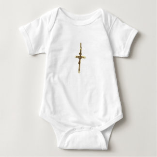 Cross Jesus Christ gold horizontal Baby Bodysuit