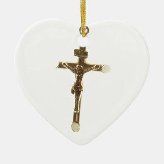 Cross Jesus Christ gold horizontal Ceramic Ornament