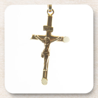 Cross Jesus Christ gold horizontal Coaster