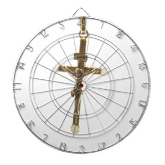 Cross Jesus Christ gold horizontal Dartboard