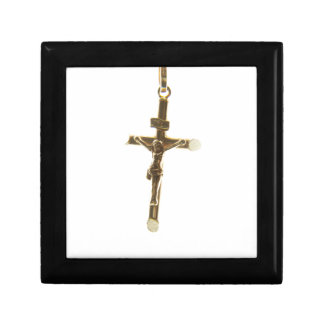 Cross Jesus Christ gold horizontal Gift Box