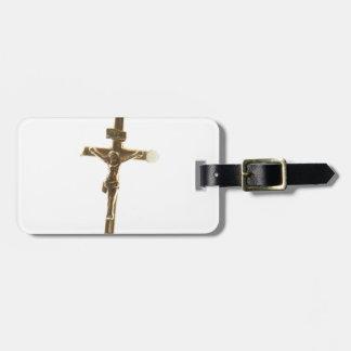 Cross Jesus Christ gold horizontal Luggage Tag
