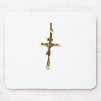 Cross Jesus Christ gold horizontal Mouse Pad