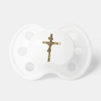 Cross Jesus Christ gold horizontal Pacifier