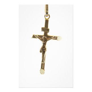 Cross Jesus Christ gold horizontal Personalized Stationery