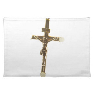 Cross Jesus Christ gold horizontal Placemat