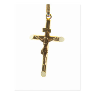 Cross Jesus Christ gold horizontal Postcard