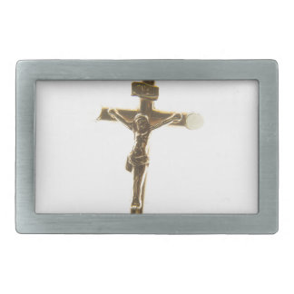 Cross Jesus Christ gold horizontal Rectangular Belt Buckle