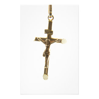Cross Jesus Christ gold horizontal Stationery