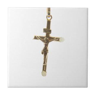 Cross Jesus Christ gold horizontal Tile