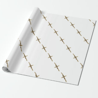 Cross Jesus Christ gold horizontal Wrapping Paper
