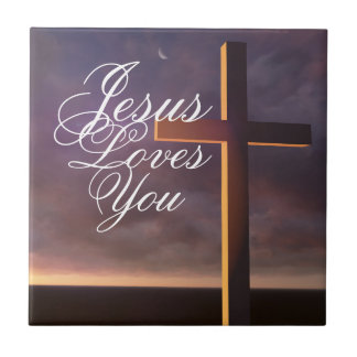 Cross Jesus Loves You Ceramic Tile