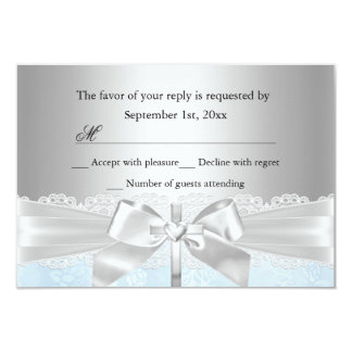 Cross & Lace Bow Blue Baptism/Christening RSVP Card