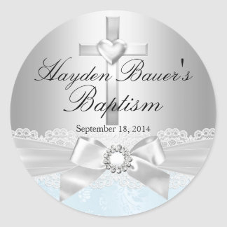 Cross Lace Bow Blue Baptism Sticker