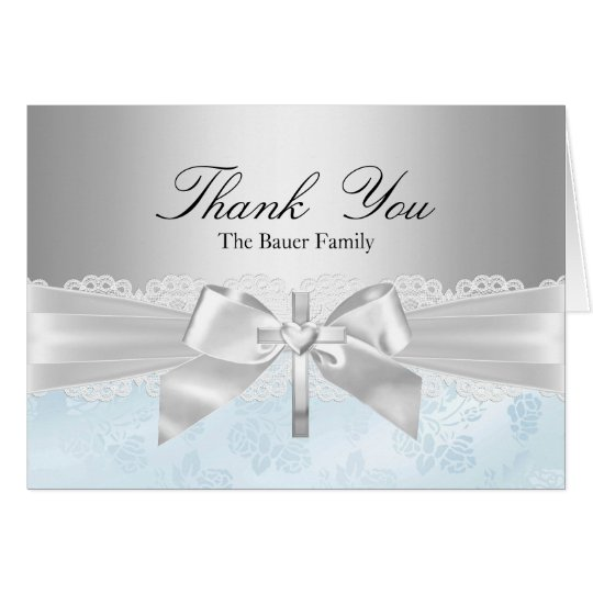 Cross & Lace Bow Blue Baptism Thank You Card
