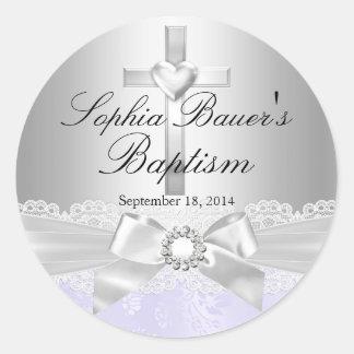 Cross Lace Bow Purple Baptism Sticker
