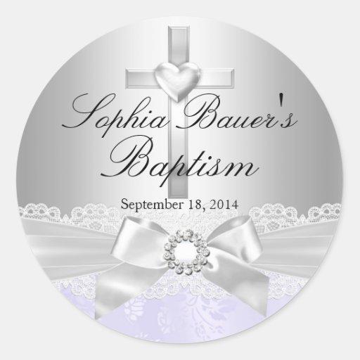 Cross & Lace Bow Purple Baptism Sticker