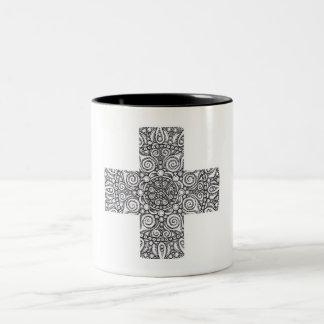 Cross Mandala Two-Tone Coffee Mug
