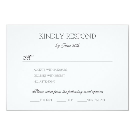 Cross Monogram Wedding RSVP Card