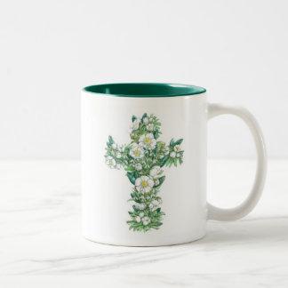 Cross mug - Winter Flowers