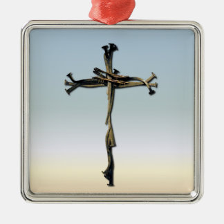 Cross of Nails Jesus Save Rustic Metal Ornament